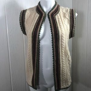 Homemade Knit Women's Vest Ivory Green Maroon M